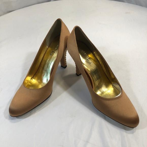 84081c0bf94 J Renee Luxe Bridget Gold Satin Rhinestone Heels
